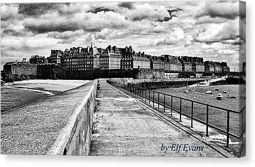 Canvas Print featuring the photograph Breakwater Walkway To Intra Muros by Elf Evans