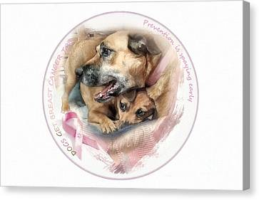 Breast Cancer Awareness In Dogs Canvas Print by Adelita Rog