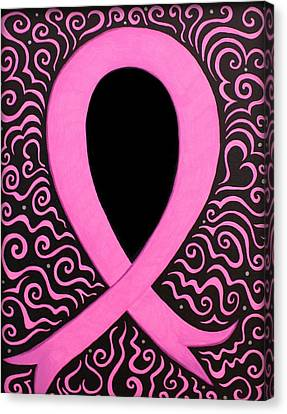 Cancer Canvas Print - Breast Cancer Awareness Ribbon by Mandy Shupp