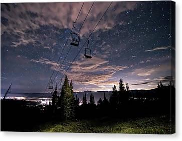 Breckenridge Chairlift Under Stars Canvas Print by Michael J Bauer
