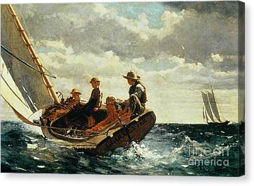 At Sea Canvas Print - Breezing Up by Winslow Homer