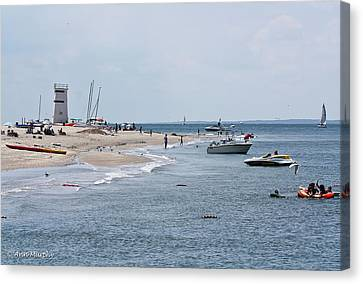 Canvas Print featuring the photograph Breezy Point Lighthouse by Ann Murphy