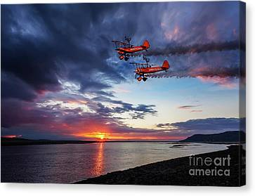 Breitling Wingwalkers Sunset Canvas Print by Adrian Evans