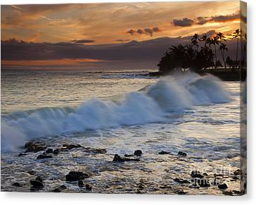 Brennecke Waves Sunset Canvas Print by Mike  Dawson