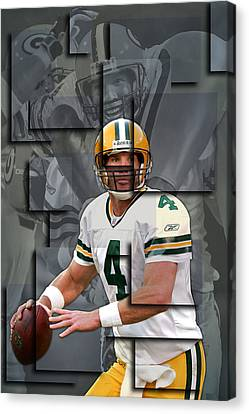 Bret Favre Green Bay Packers Blocks Canvas Print by Joe Hamilton