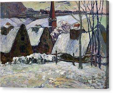 Breton Village Under Snow Canvas Print by Paul Gauguin