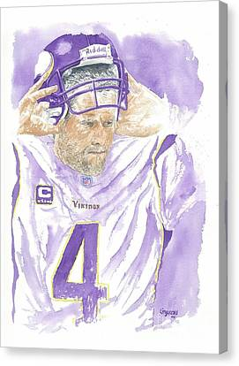 Brett Favre - The Old Warrior Canvas Print by George  Brooks
