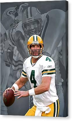 Brett Favre Green Bay Packers Canvas Print by Joe Hamilton