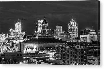 Canvas Print featuring the photograph Brew City At Night by Randy Scherkenbach