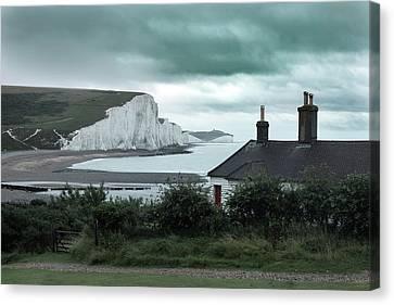 Coastguard Canvas Print - brewing storm Seven Sisters - England by Joana Kruse