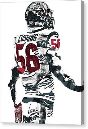 Brian Cushing Houston Texans Pixel Art 2 Canvas Print by Joe Hamilton