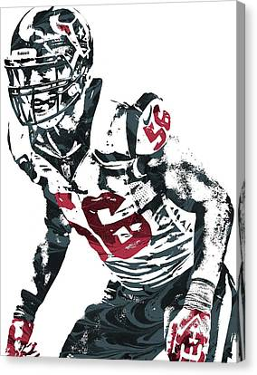 Brian Cushing Houston Texans Pixel Art Canvas Print by Joe Hamilton