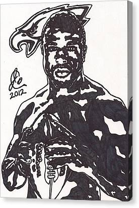 Canvas Print featuring the drawing Brian Westbrook by Jeremiah Colley