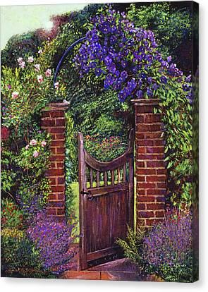Morning Glories Canvas Print - Brick Gateway by David Lloyd Glover