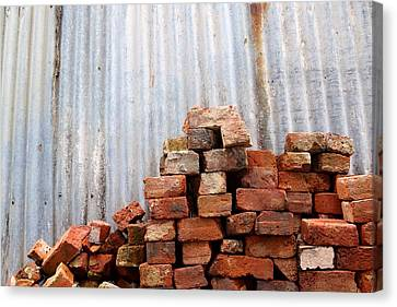 Canvas Print featuring the photograph Brick Piled by Stephen Mitchell