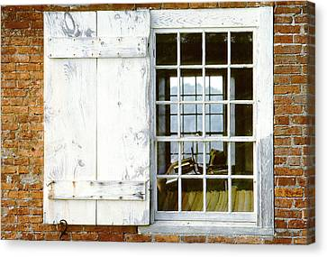 Brick Schoolhouse Window Photo Canvas Print