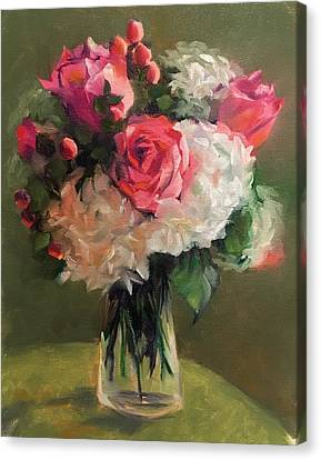 Canvas Print featuring the painting Bridal Bouquet by Pam Talley