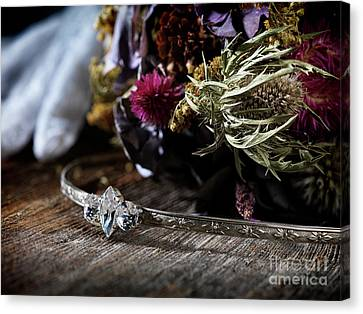 Bridal Tiara Headpiece And A Wedding Bouquet  Canvas Print by Awen Fine Art Prints
