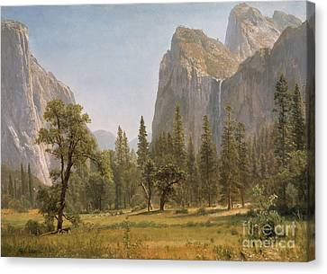 Yosemite Valley Canvas Print - Bridal Veil Falls Yosemite Valley California by Albert Bierstadt