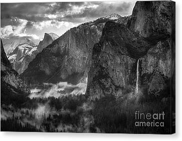 Bridalvail Falls And Half Dome Canvas Print