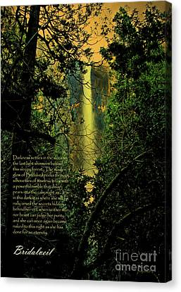 Canvas Print featuring the photograph Bridalveil . With Prose by Wingsdomain Art and Photography