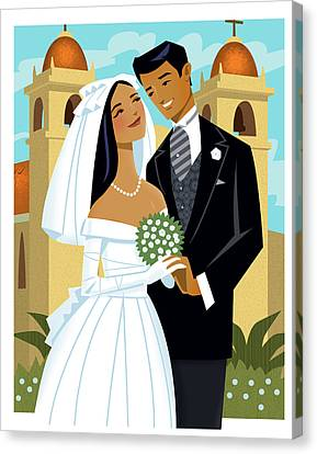 Bride And Groom Canvas Print by Harry Briggs
