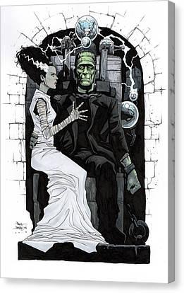 Horror Movies Canvas Print - Bride Of Frankenstein by Paul Davidson