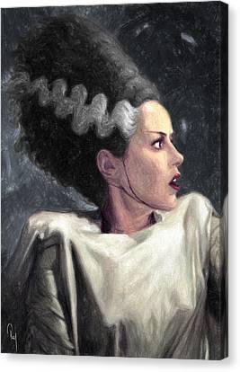 Goth Girl Canvas Print - Bride Of Frankenstein by Taylan Apukovska