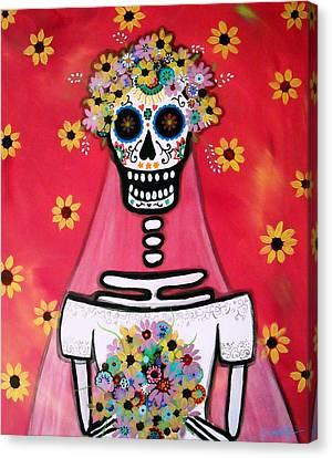 Bridezilla Dia De Los Muertos Canvas Print by Pristine Cartera Turkus