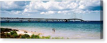 Bridge Across A Lake, Mackinac Bridge Canvas Print by Panoramic Images