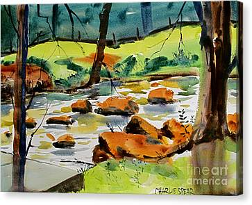 Bridge Across Tadpole Creek Maconaquah Plein Air Framedah Park Canvas Print