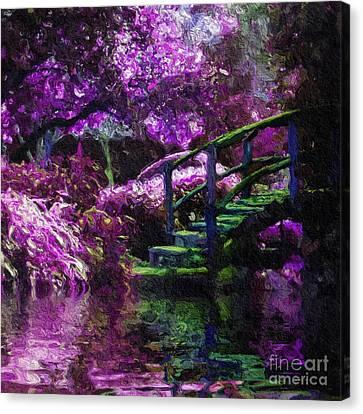 Purple Canvas Print - Bridge Among Purple Reflections by Amy Cicconi