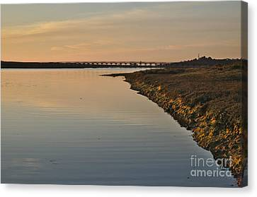 Bridge And Ria At Sunset In Quinta Do Lago Canvas Print by Angelo DeVal