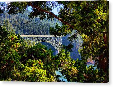 Canvas Print featuring the photograph Bridge At Deception Pass by Michelle Joseph-Long