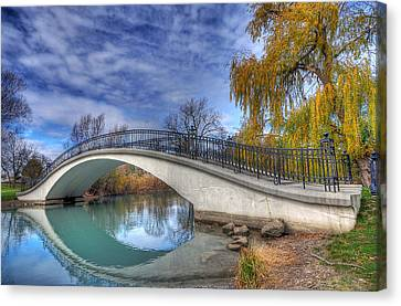 Canvas Print featuring the photograph Bridge At Elizabeth Park by Rodney Campbell