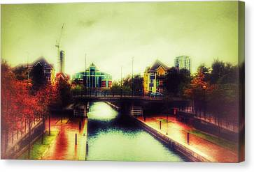 Canvas Print featuring the photograph Bridge At Salford Quays by Isabella F Abbie Shores FRSA