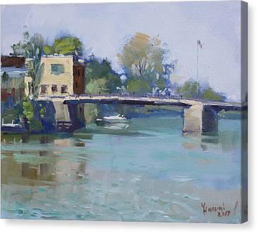 Bridge At Tonawanda Canal Canvas Print by Ylli Haruni