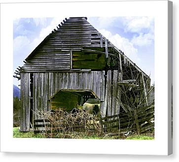 Bridge Creek Barn Canvas Print by Susan Leggett
