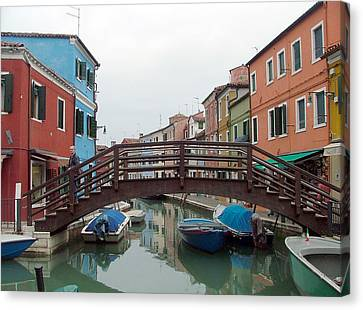 Bridge In Burano Italy Canvas Print by Mindy Newman