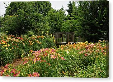 Bridge In Daylily Garden Canvas Print