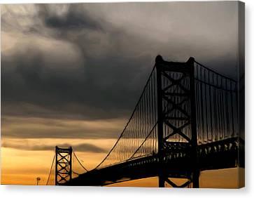 Bridge In Oil Canvas Print by Thomas  MacPherson Jr