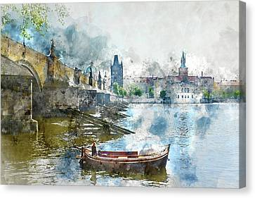 Bridge In Prague, Czech Republic Canvas Print by Brandon Bourdages