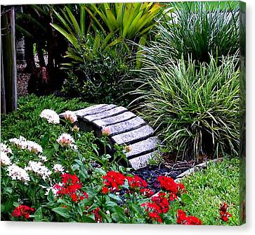 Canvas Print featuring the photograph Bridge In The Garden by Merton Allen