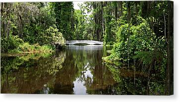 Canvas Print featuring the photograph Bridge In The Garden by Sandy Keeton