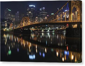Bridge In The Heart Of Pittsburgh Canvas Print by Frozen in Time Fine Art Photography