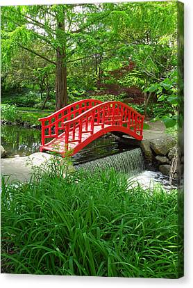 Canvas Print featuring the photograph Bridge In The Woods by Rodney Campbell