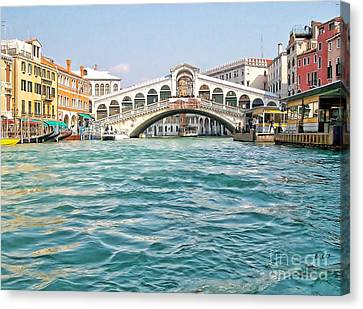 Canvas Print featuring the photograph Bridge In Venice by Roberta Byram