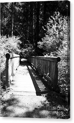 Canvas Print featuring the photograph Bridge In Woods by Yulia Kazansky