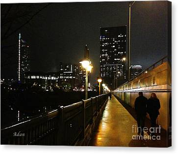 Canvas Print featuring the photograph Bridge Into The Night by Felipe Adan Lerma
