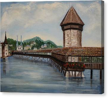 Bridge On Lake Lucerne Canvas Print by Irene McDunn